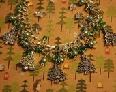 Handcrafted Embellished Evergreen Christmas Tree Silver Beaded Charm Bracelet