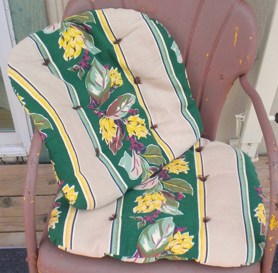 Vintage Barkcloth Chair Cushions Floral 1940's Pattern Green Yellow and Purple Design