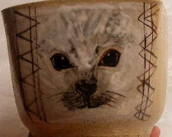 Ceramic Stoneware Baby Seal Cup or Vase, Utensil Holder, Ready to Ship -  Pencil Holder or Bookend item, One-of-a-kind