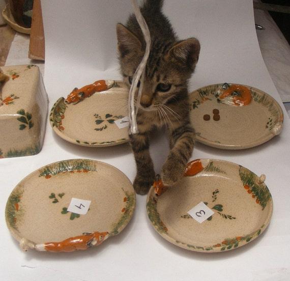 Stoneware Ceramic Miniature Fox and Rabbit, small plate Number 2