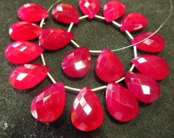 2 Matched Pairs Calibrated size 13x18 mm - Gorgeous Hot Pink Colour CHALCEDONY - Faceted Pear Briolett Total 4 pcs