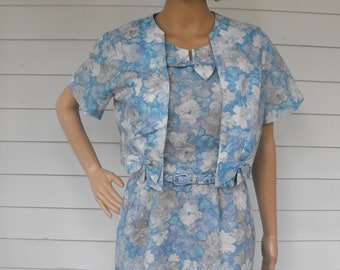 50s Blue Floral Dress Sheer Print Toni Todd Vintage L XL