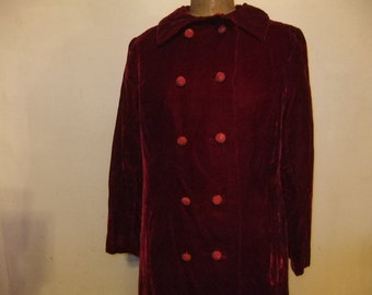 1970's Red Velvet Double Breasted Maxi Coat
