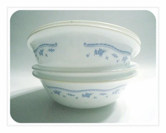 4 Corelle MORNING BLUE Salad Bowls Floral Ribbon Design - Cereal Corning