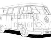 VW Split screen camper van digital image