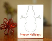 SALE - Snowman Hug - Set of 10 Modern Holiday Cards on 100% Recycled Paper