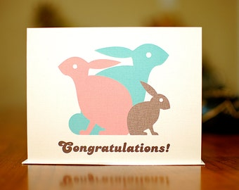 Little Hop-a-Long - Bunny Family New Baby Congratulations Card on 100% Recycled Paper