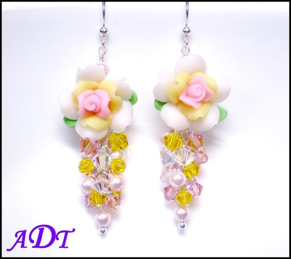 Rose Sunshine ...Polymer Clay Earrings in Yellow and Pink