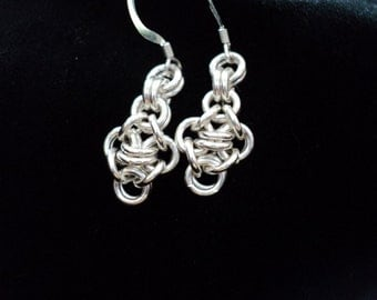 Darling Dangles Solid Sterling Silver Chainmaille Earrings
