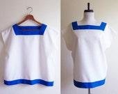 Vintage 1980s Blouse / Blue & White COLORBLOCK Boxy Top / Size Large or XL Plus Size