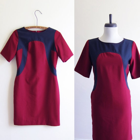 Vintage 1960s Dress / MOD Burgundy and Grey Scooter Dress / Size XS or Small