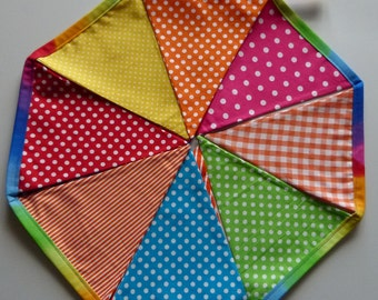 Reusable rainbow Fabric Bunting / Flags / Pennants Birthday party spots stripes and gingham bright rainbow