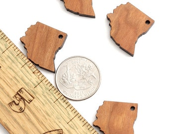 State of Ohio Charms - With or Without Holes - Black Cherry Wood Charms by Timber Green Woods