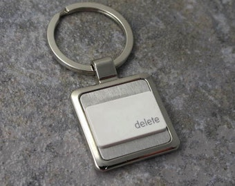 Apple, Mac computer, delete Key-Ring in white, key chain, keys, recycled, birthday, anniversary, wedding, gift