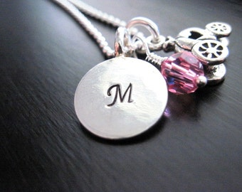 Initial Pendant Princess Necklace, Pink Swarovski Crystal, Pumpkin Charm