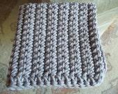 Gray Chunky baby blanket crochet photo prop bucket bowl basket