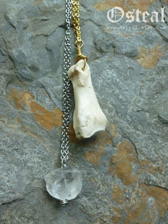 Dainty Deer Toe in Brass- bone jewelry,  wire wrapped