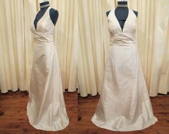 Vintage Silk Sexy Simple Pale Pink Peachy Ivory Halter Top Wedding Dress Full Floor Length Prom Bridesmaid Dress