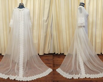 Vintage 1960s Majora Creation Cotton Lace Wedding Dress With Empire Waist and Long Cathedral Style Train Summer Hippie Wedding