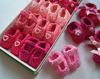 BEST SELLER Girl baby shower decorations: 8 pairs hand knit mini booties decorations - 2 inches - shades of pink, purple or yellow and white