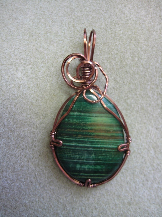 CIJ Green Cabochon Stone wire wrapped Pendant necklace w Antique Copper nontarnish wire, watercolorsnmore copper green