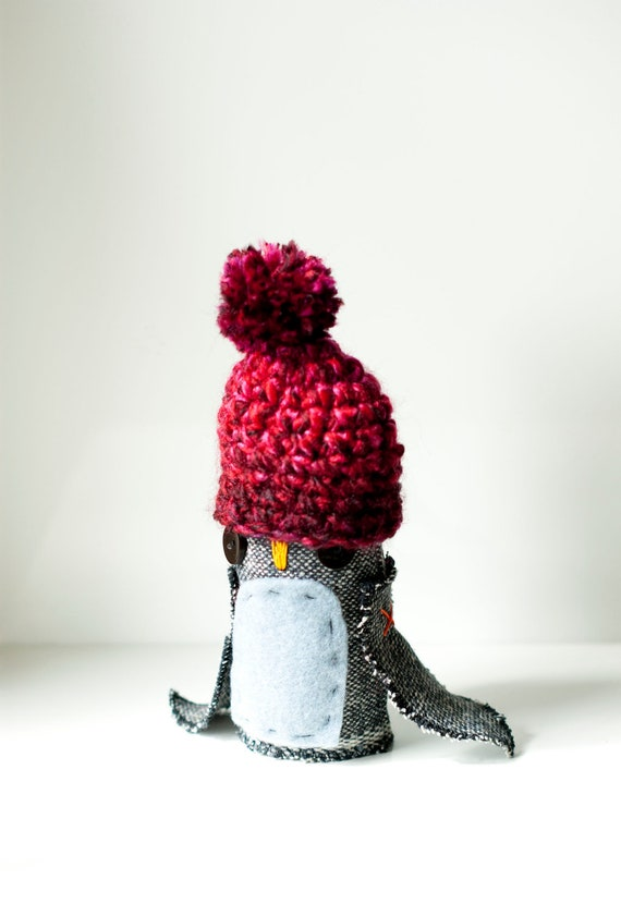 Penguin soft sculpture with crocheted hat - Poppy the penguin