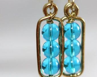 Aqua Blue Glass Earrings - 'Phone Booth Storm'