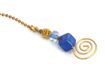 Decorative Pull Chain for the Home - Cobalt Blue and Gold