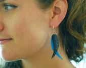 Feathers - Recycled Bike tube earrings