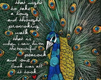 The Peacock / original illustration ART Print SIGNED / 8 x 10 / NEW