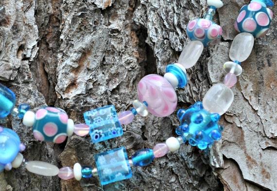 Periwinkle Blue Aquamarine Pink Lampwork Mish Mash Necklace