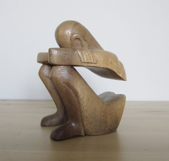 Wooden Sculpture of Seated Figure