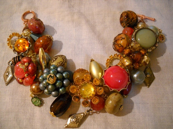 Chunky Fall Tone Charm Bracelet Reworked Vintage Earrings Beads FREE SHIPPING