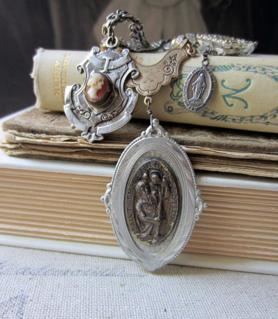 RESERVED for Gina - st. christopher and the lady - vintage assemblage necklace with catholic medal by the french circus
