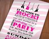 PINK ZEBRA GUITAR Girl Birthday Printable Invitation