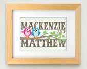 TWIN OWL Personalized Printable Nursery Art in Teal and Pink