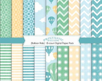 HOT AIR BALLOON Printable Paper Pack in Seafoam and Teal- Instant Dowload
