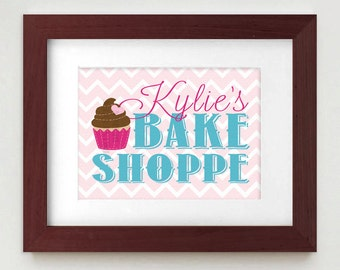 BAKE SHOPPE Personalized Printable Nursery Art in Pink and Teal