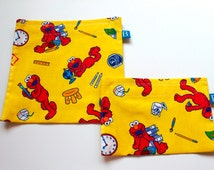 Reuseable Eco-Friendly Set of Snack and Sandwich Bags in Elmo Fabric