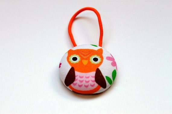 Owl Fabric Covered Giant Button Pony Holder
