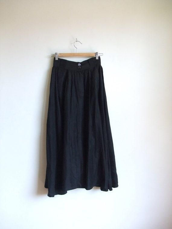 Vintage 1980s black silk full skirt