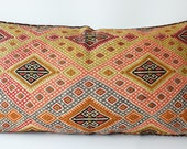 Sukan / Organic Modern Bohemian Throw Pillow. Handwoven Wool Vintage Tribal Turkish Kilim Pillow Cover