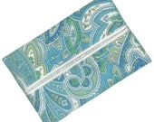 Travel Tissue Cozy, Blue and White Paisley, Purse Tissue Case, Pocket Tissue Pouch, Travel Tissue Holder