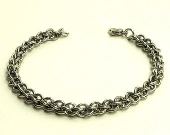 Chainmaille Jewellery, Chainmail Bracelet, JPL, Silver, Small, Aluminum