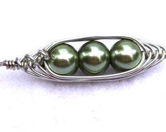 Pea Pod Necklace, Peas in a Pod Pendant, Large Green Pearls or Personalize