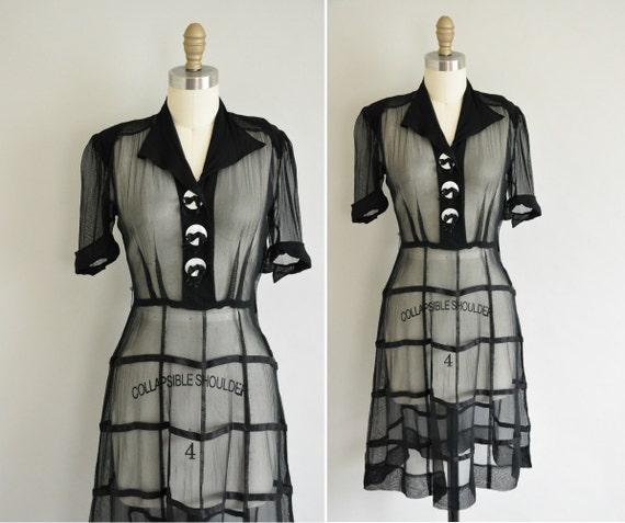 vintage 1940s dress / 40s black chiffon swing dress / Mood Indigo