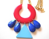 Tribal Red Plastic Pendant Statement Neckalce
