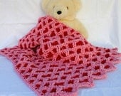 Baby hearts blanket pink red girl afghan thick soft infant blankie newborn throw ripple wrap Valentines Day crib decor