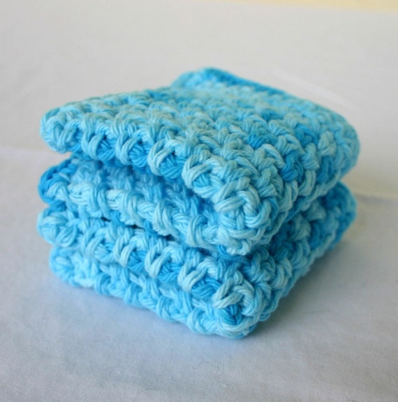 Crocheted cotton dishcloths blue turquoise set of 2 variegated eco-friendly cleaning square functional washing scrubbers summer duo