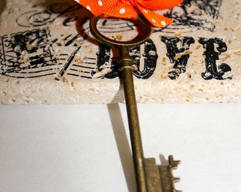 "Boutonniere Unique Steampunk Skeleton Key  "" Wedding Keepsake"""
